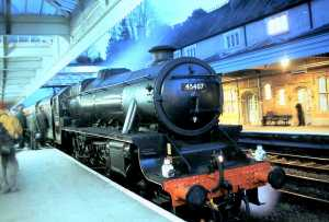 Black 5 45407 after bringing in a charter train off the Cambrian in 2004. (D. Giddins).